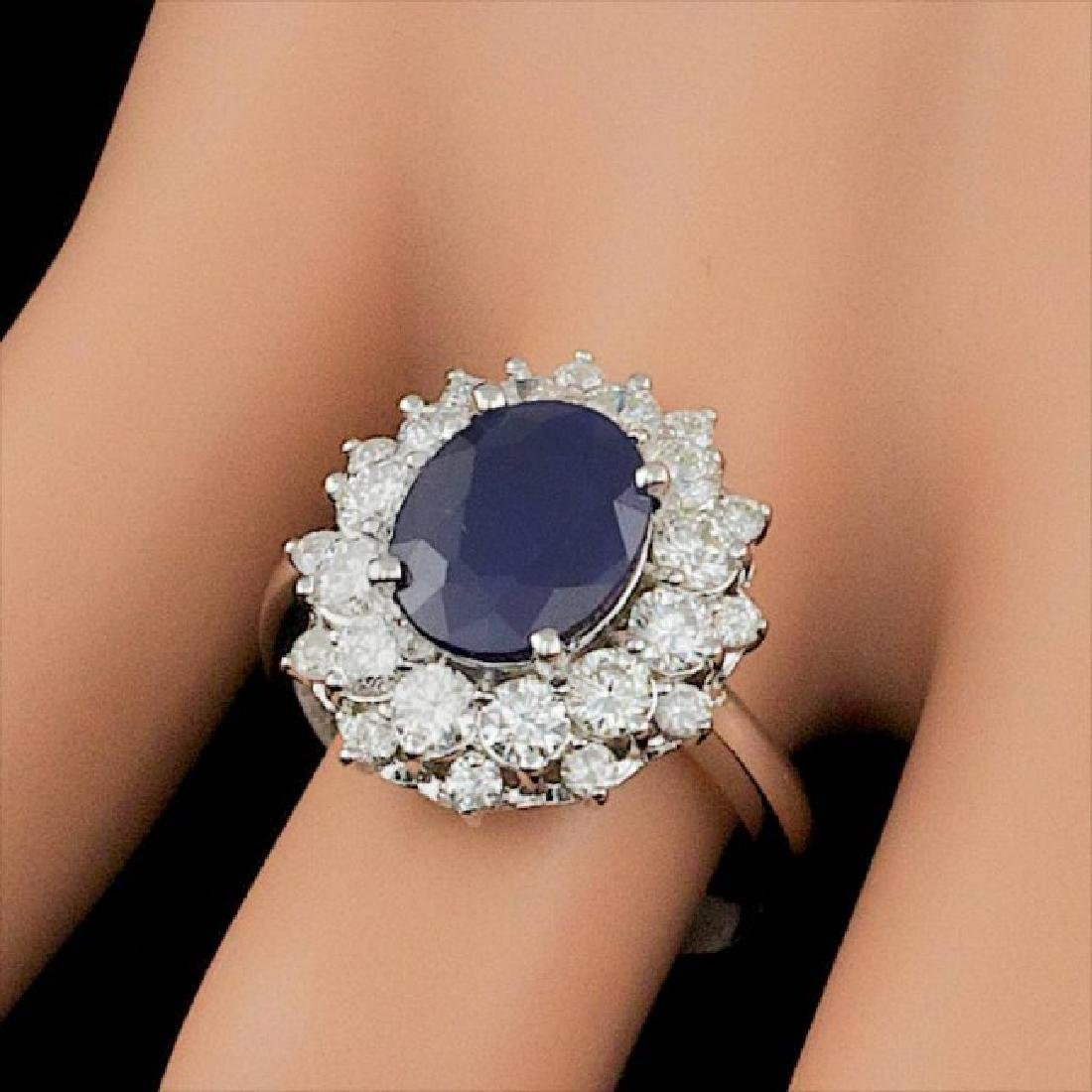 14k Gold 3.00ct Sapphire 1.40ct Diamond Ring - 4