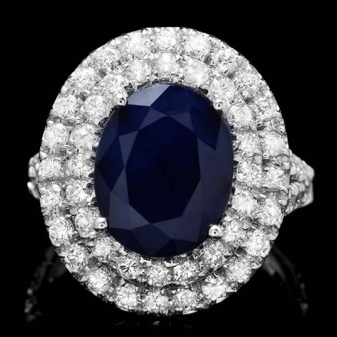 14k Gold 5.00ct Sapphire 2.00ct Diamond Ring