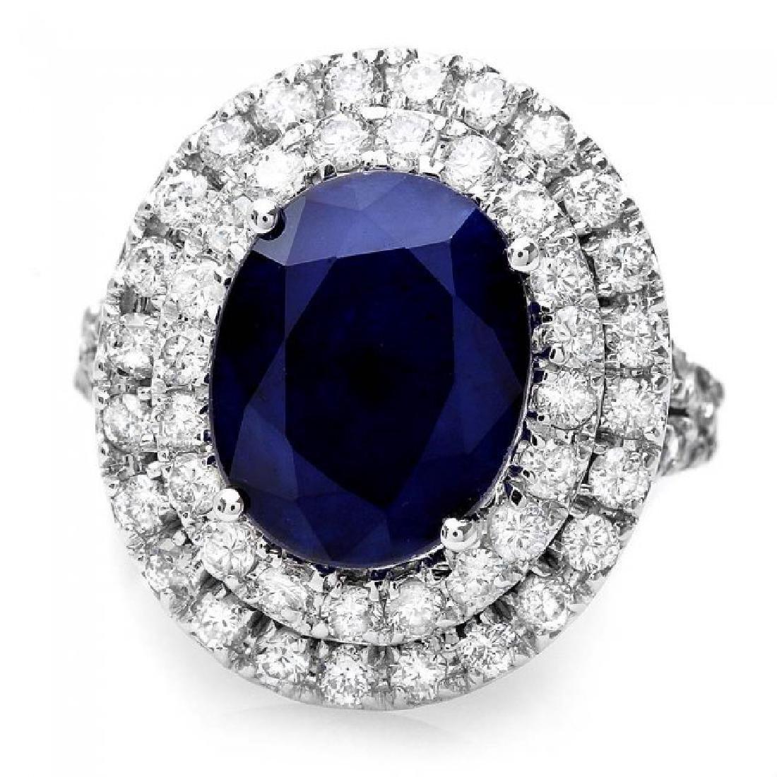 14k Gold 5.00ct Sapphire 2.00ct Diamond Ring - 2