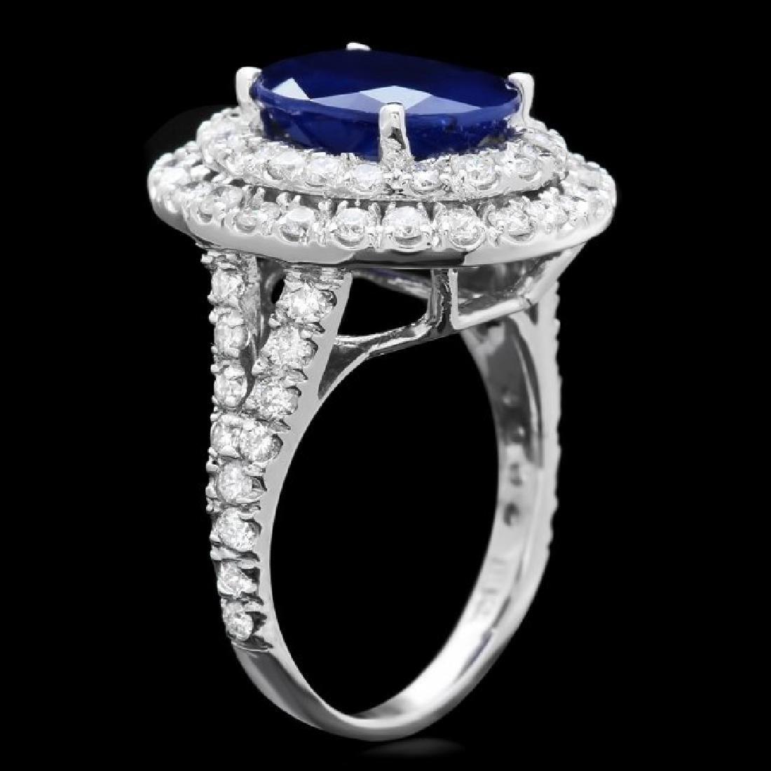 14k Gold 5.00ct Sapphire 2.00ct Diamond Ring - 3