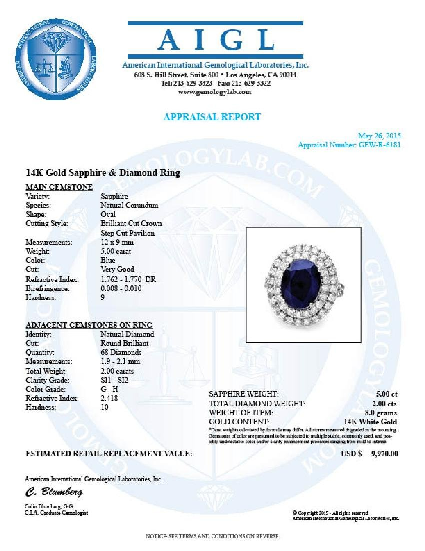 14k Gold 5.00ct Sapphire 2.00ct Diamond Ring - 5