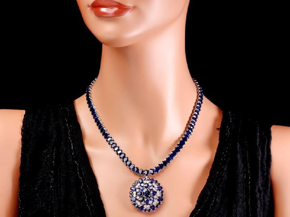 14k Gold 94ct Sapphire 1.80ct Diamond Pendant - 6