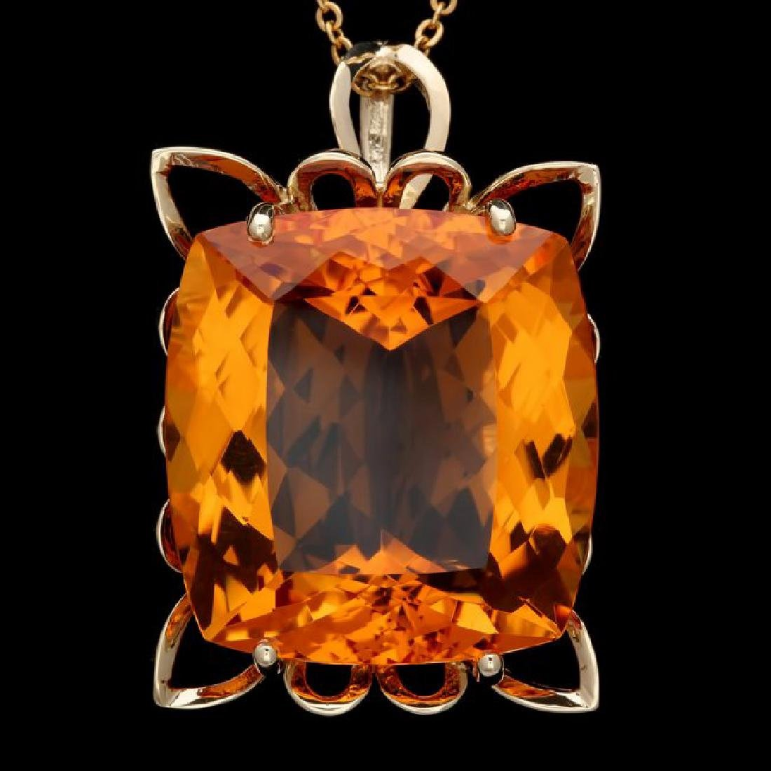 14k Yellow Gold 55.00ct Citrine Pendant