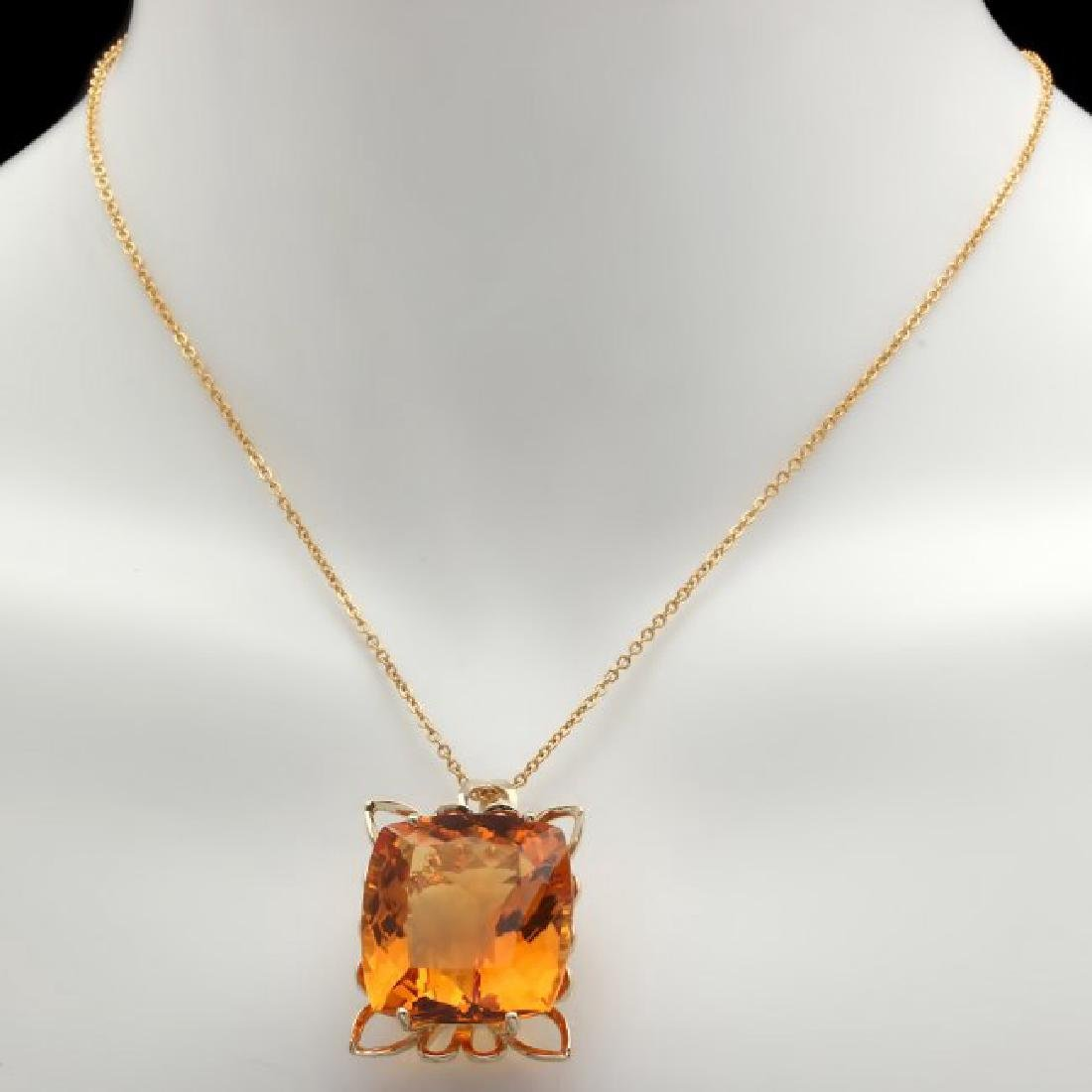 14k Yellow Gold 55.00ct Citrine Pendant - 2