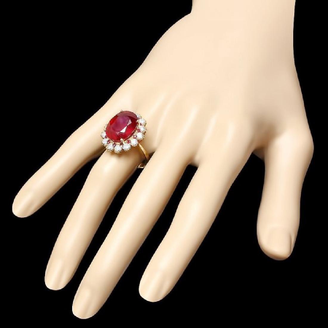 14k Yellow Gold 14.2ct Ruby 1.26ct Diamond Ring - 3