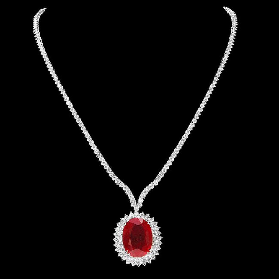 18k Gold 27.00ct Ruby 9.00ct Diamond Necklace