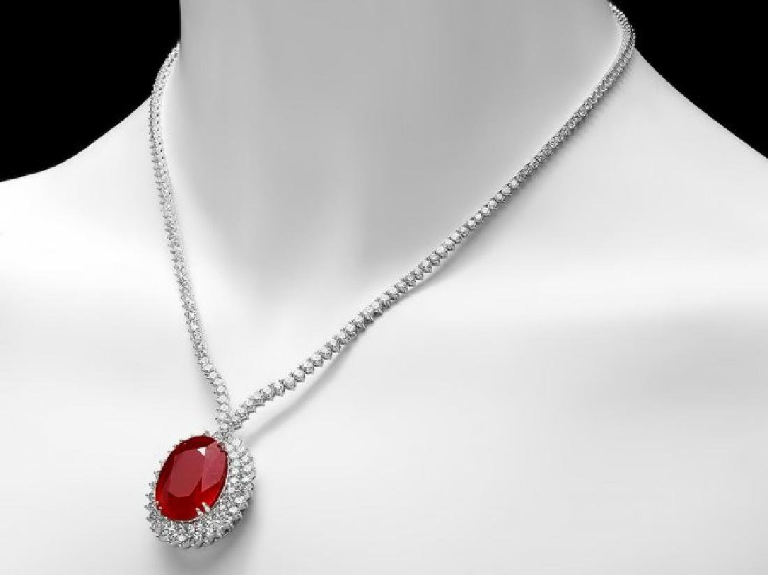 18k Gold 27.00ct Ruby 9.00ct Diamond Necklace - 2