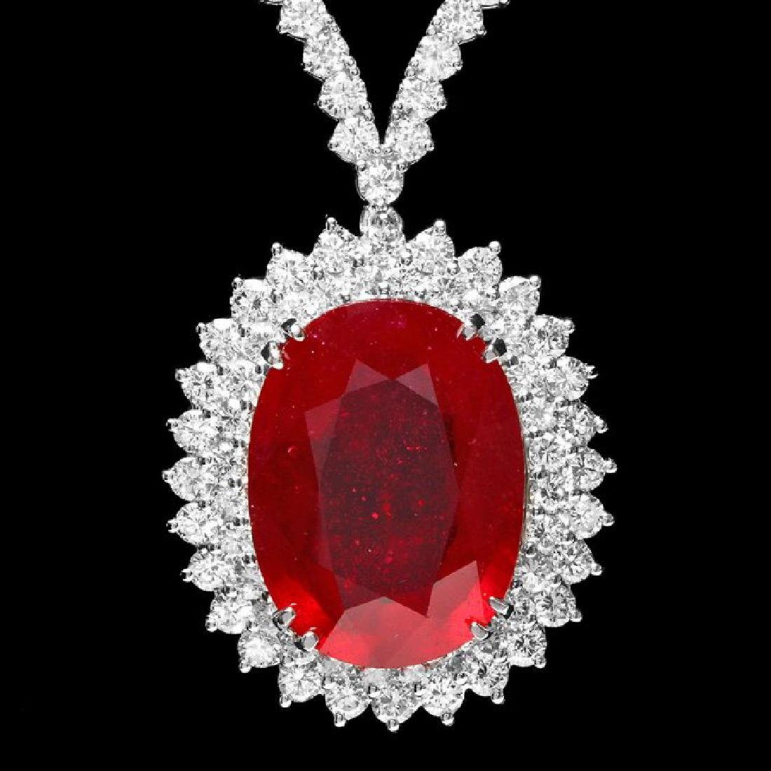 18k Gold 27.00ct Ruby 9.00ct Diamond Necklace - 3