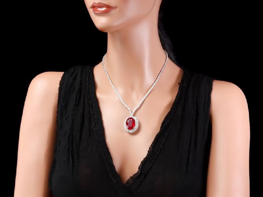18k Gold 27.00ct Ruby 9.00ct Diamond Necklace - 4