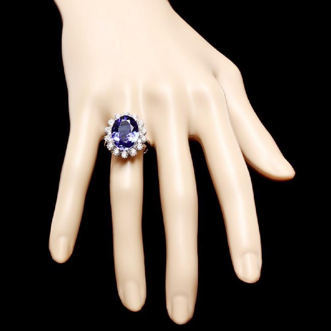 14k Gold 8.00ct Tanzanite 1.90ct Diamond Ring - 4