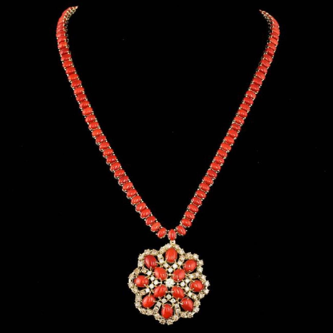 14k Gold 58.50ct Coral 5.50ct Diamond Necklace