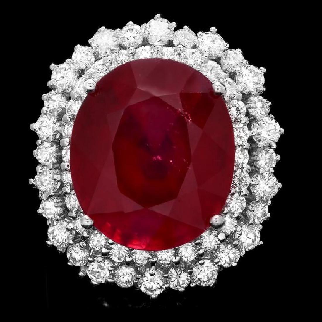 14k White Gold 18.00ct Ruby 2.00ct Diamond Ring