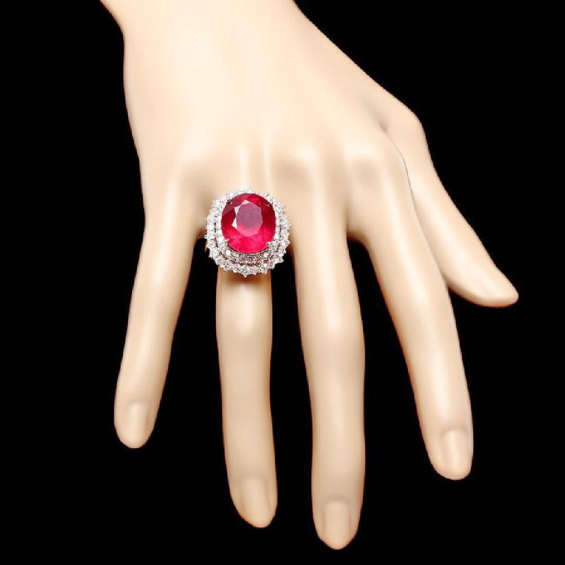 14k White Gold 18.00ct Ruby 2.00ct Diamond Ring - 4