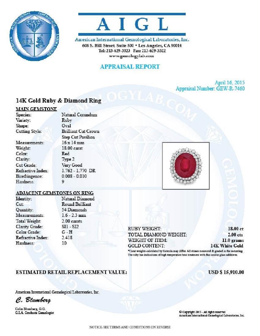 14k White Gold 18.00ct Ruby 2.00ct Diamond Ring - 5