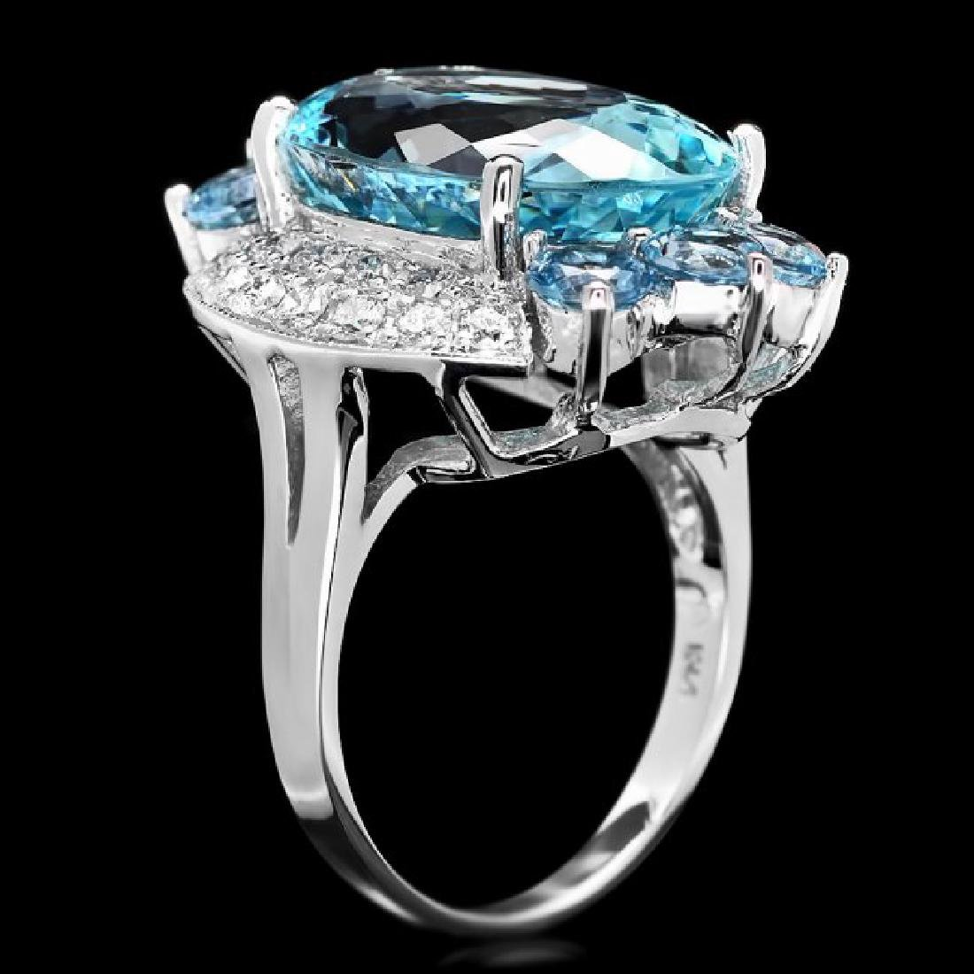 14k Gold 11.85ct Aquamarine .75ct Diamond Ring - 2