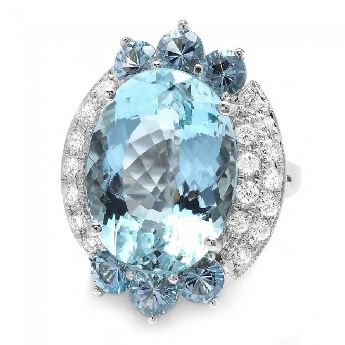14k Gold 11.85ct Aquamarine .75ct Diamond Ring - 3