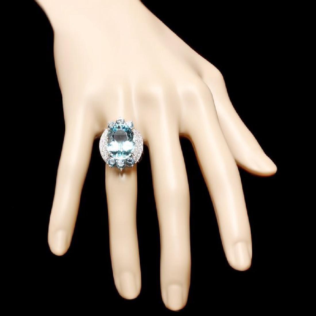 14k Gold 11.85ct Aquamarine .75ct Diamond Ring - 4