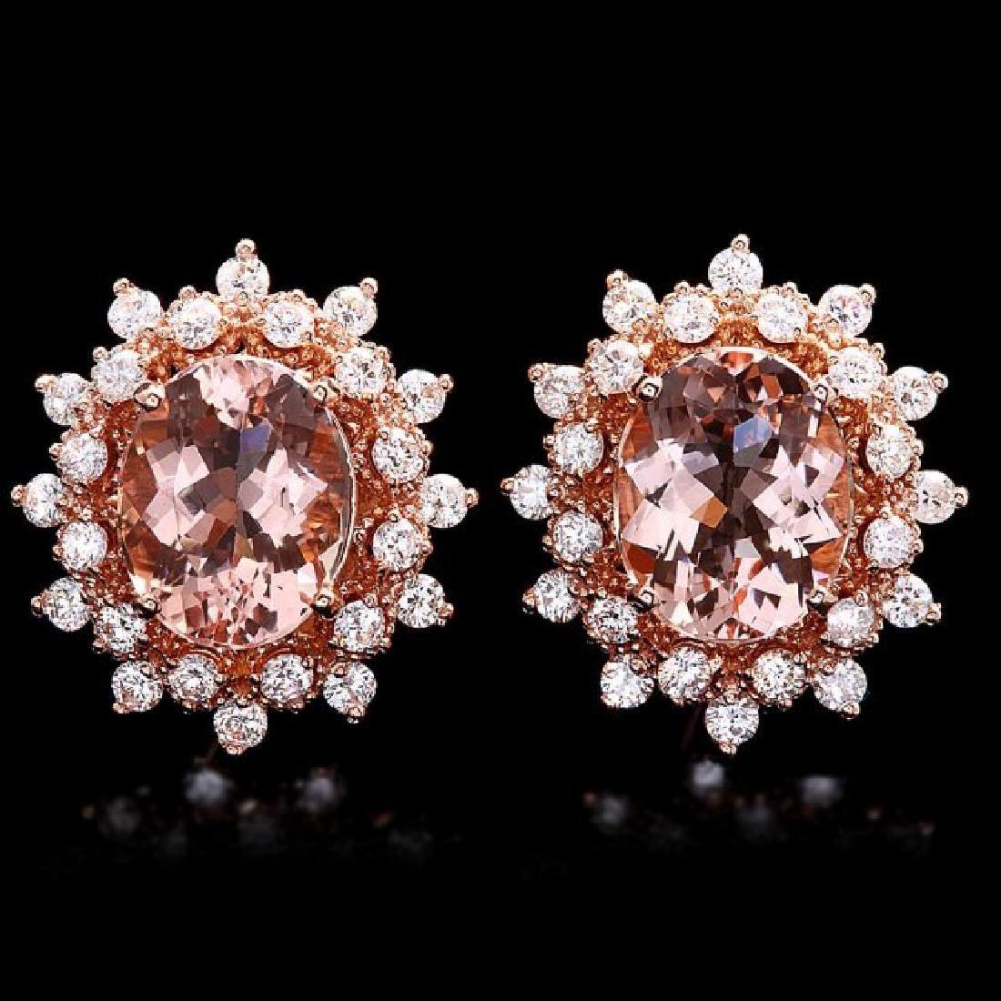 14k Rose 5ct Morganite 1.25ct Diamond Earrings