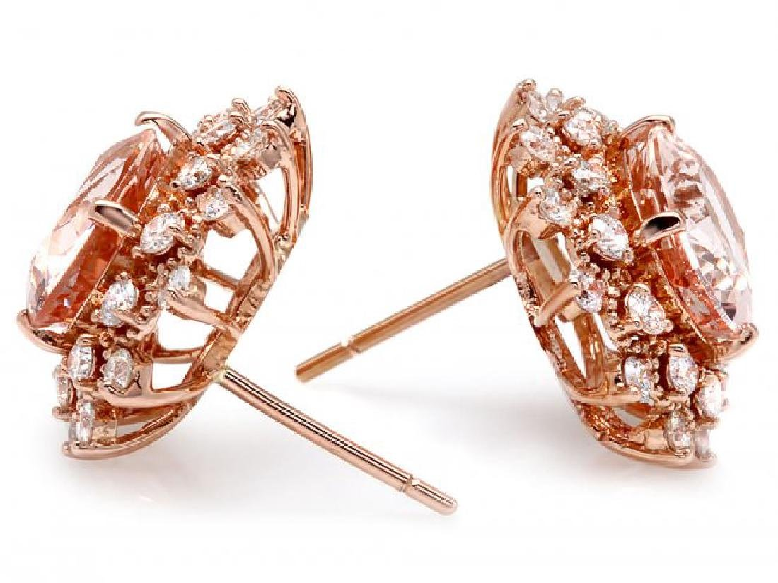 14k Rose 5ct Morganite 1.25ct Diamond Earrings - 2