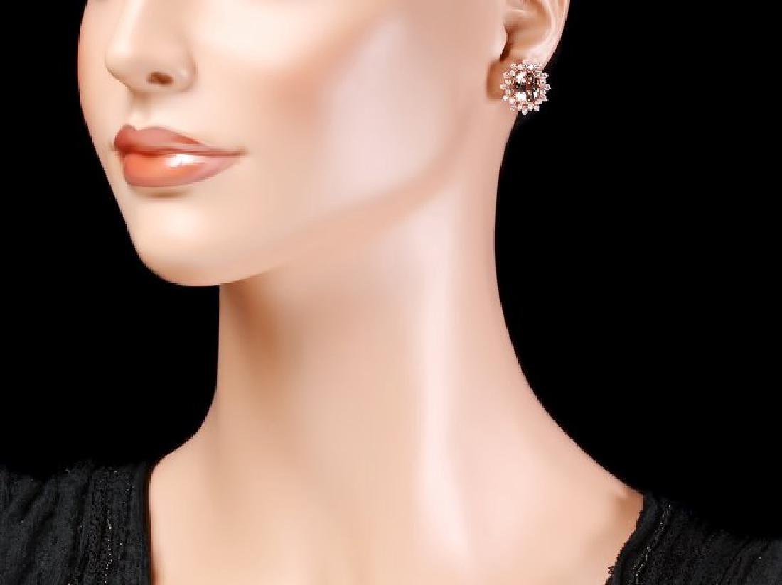 14k Rose 5ct Morganite 1.25ct Diamond Earrings - 4
