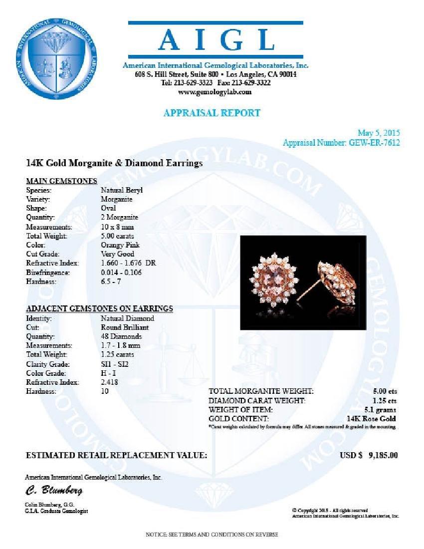 14k Rose 5ct Morganite 1.25ct Diamond Earrings - 5