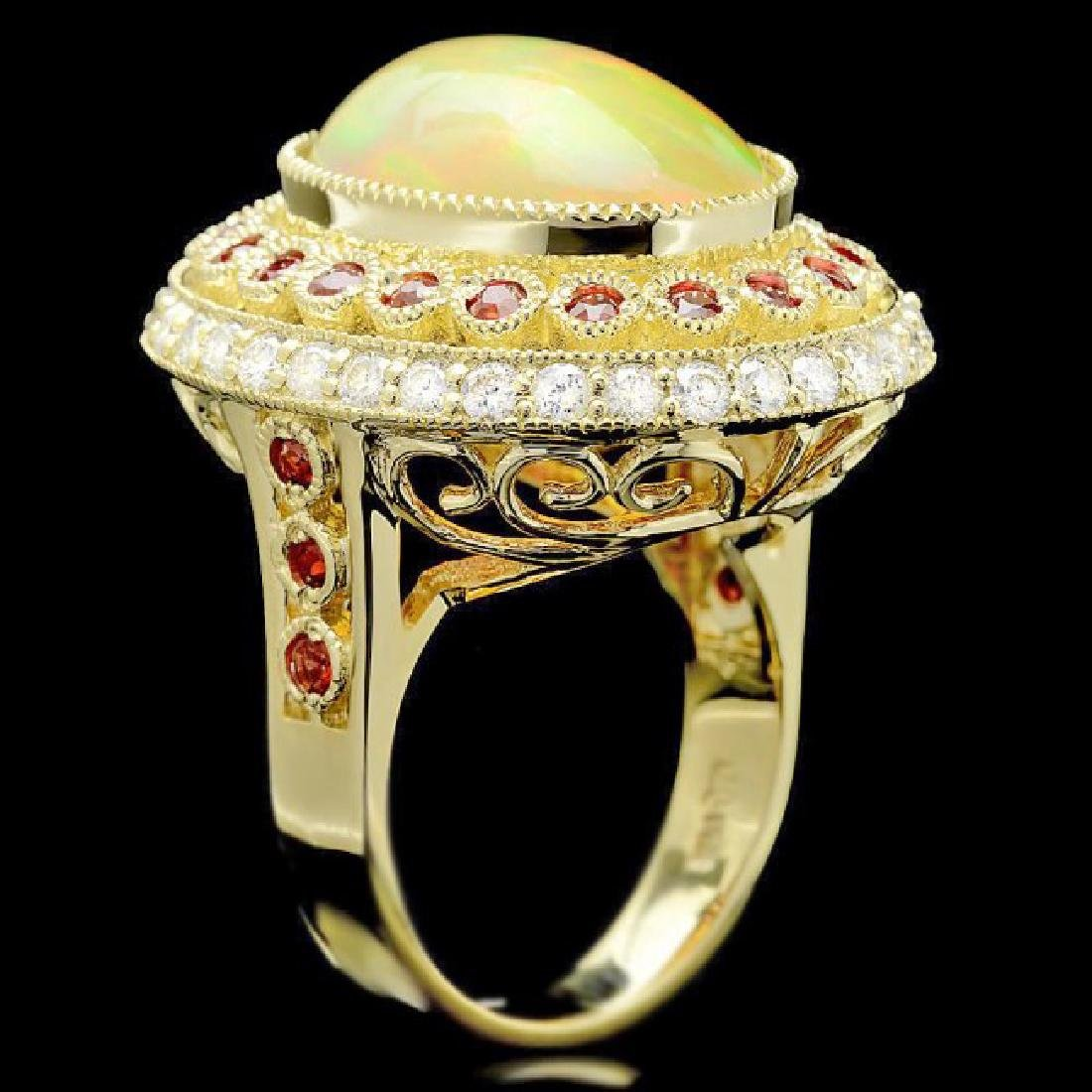 14k Yellow Gold 8.00ct Opal 1.20ct Diamond Ring - 2