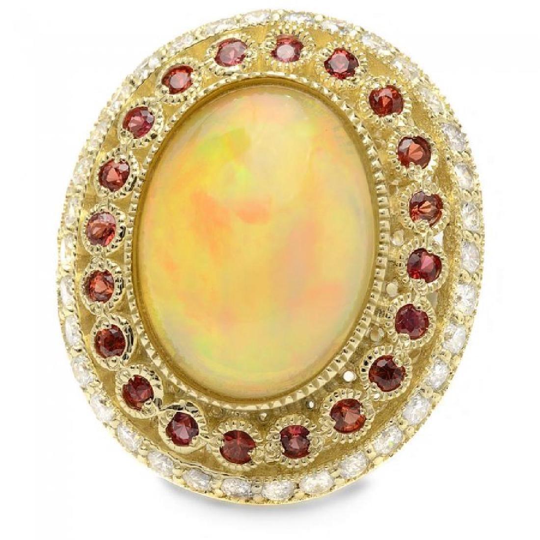 14k Yellow Gold 8.00ct Opal 1.20ct Diamond Ring - 3