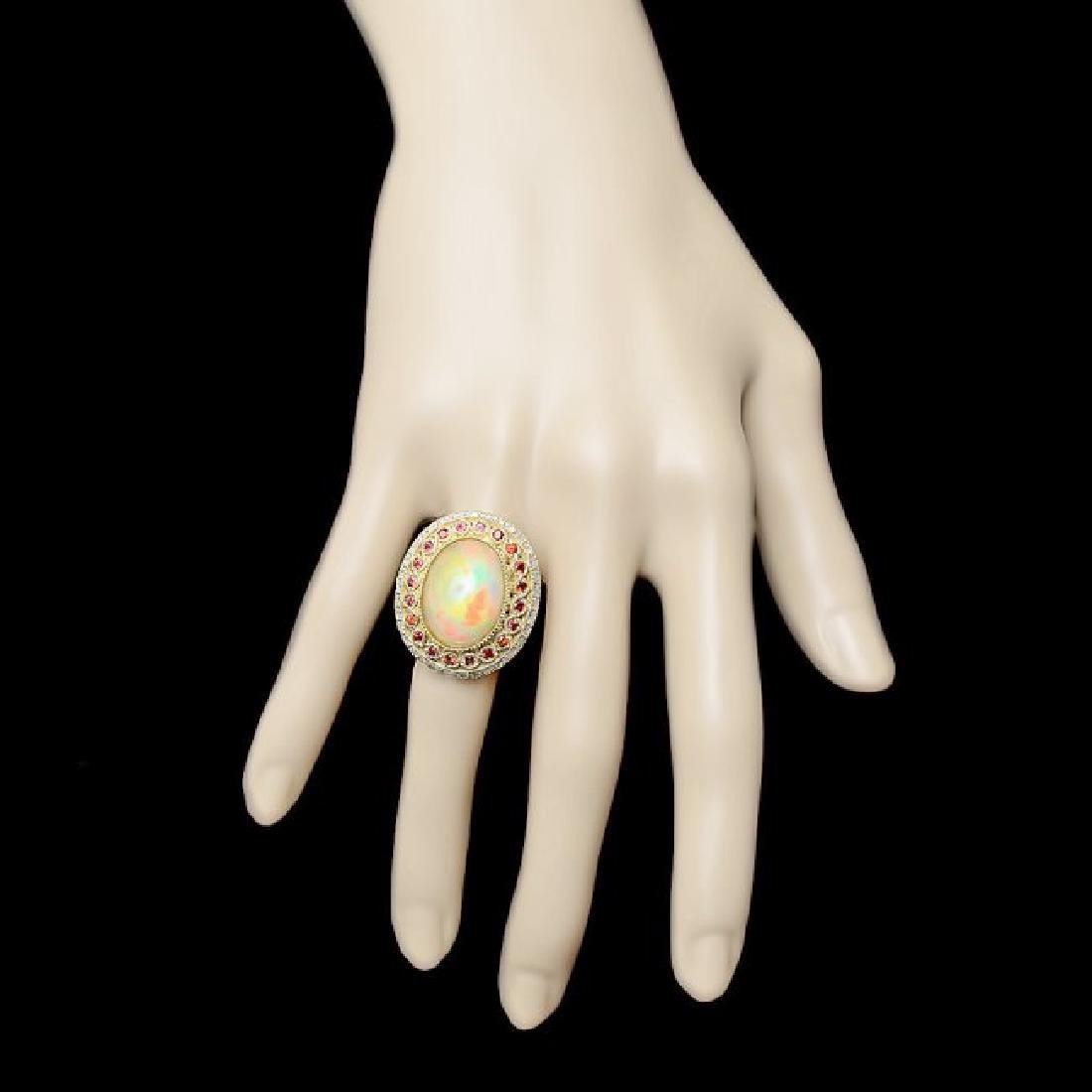 14k Yellow Gold 8.00ct Opal 1.20ct Diamond Ring - 4