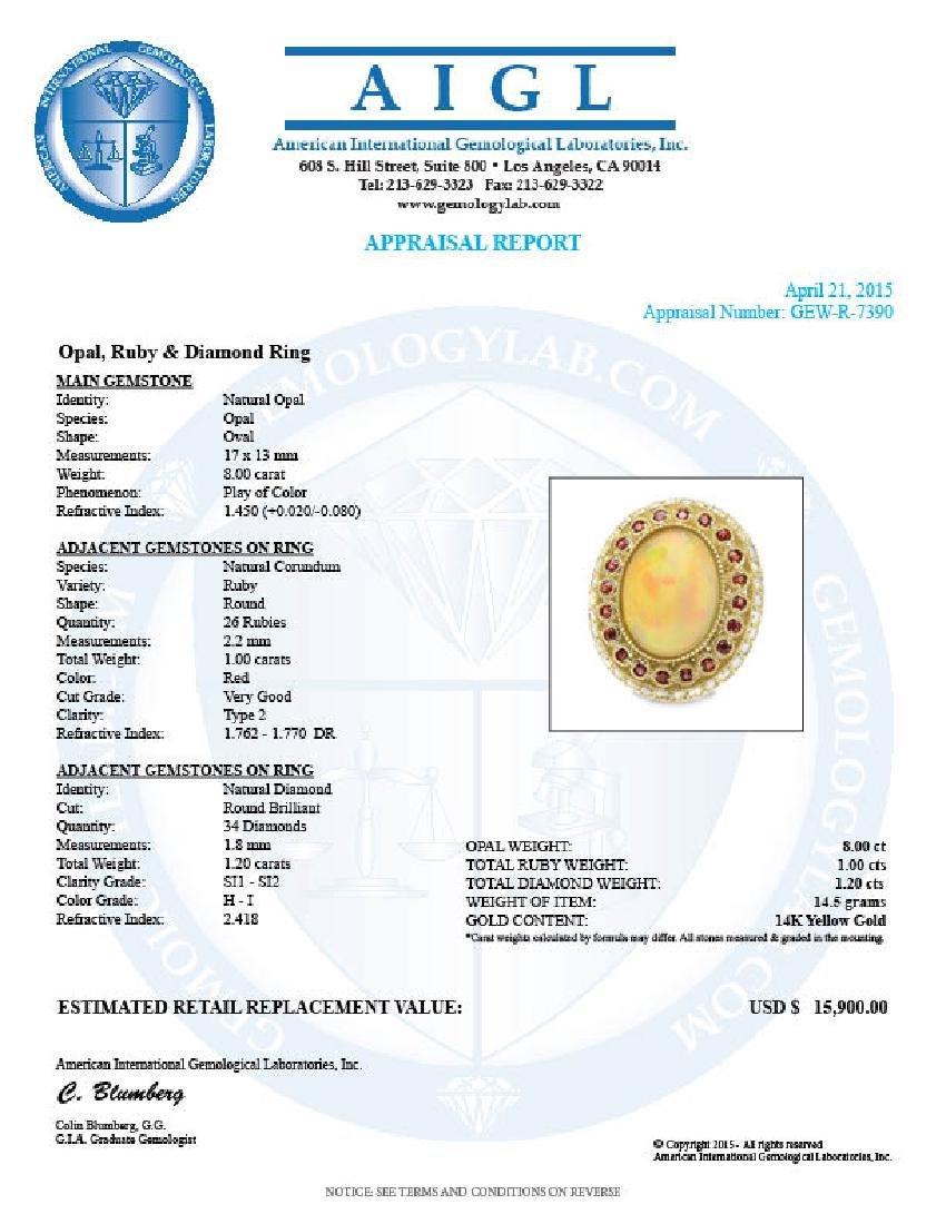 14k Yellow Gold 8.00ct Opal 1.20ct Diamond Ring - 5