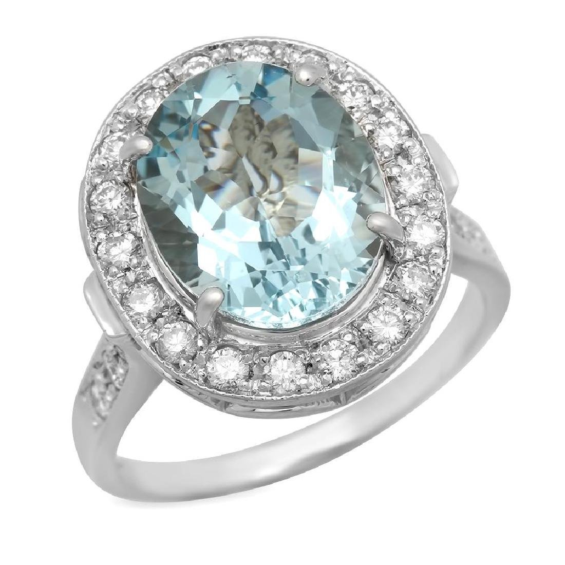 14K Gold 3.99ct Aquamarine 0.55ct Diamond Ring
