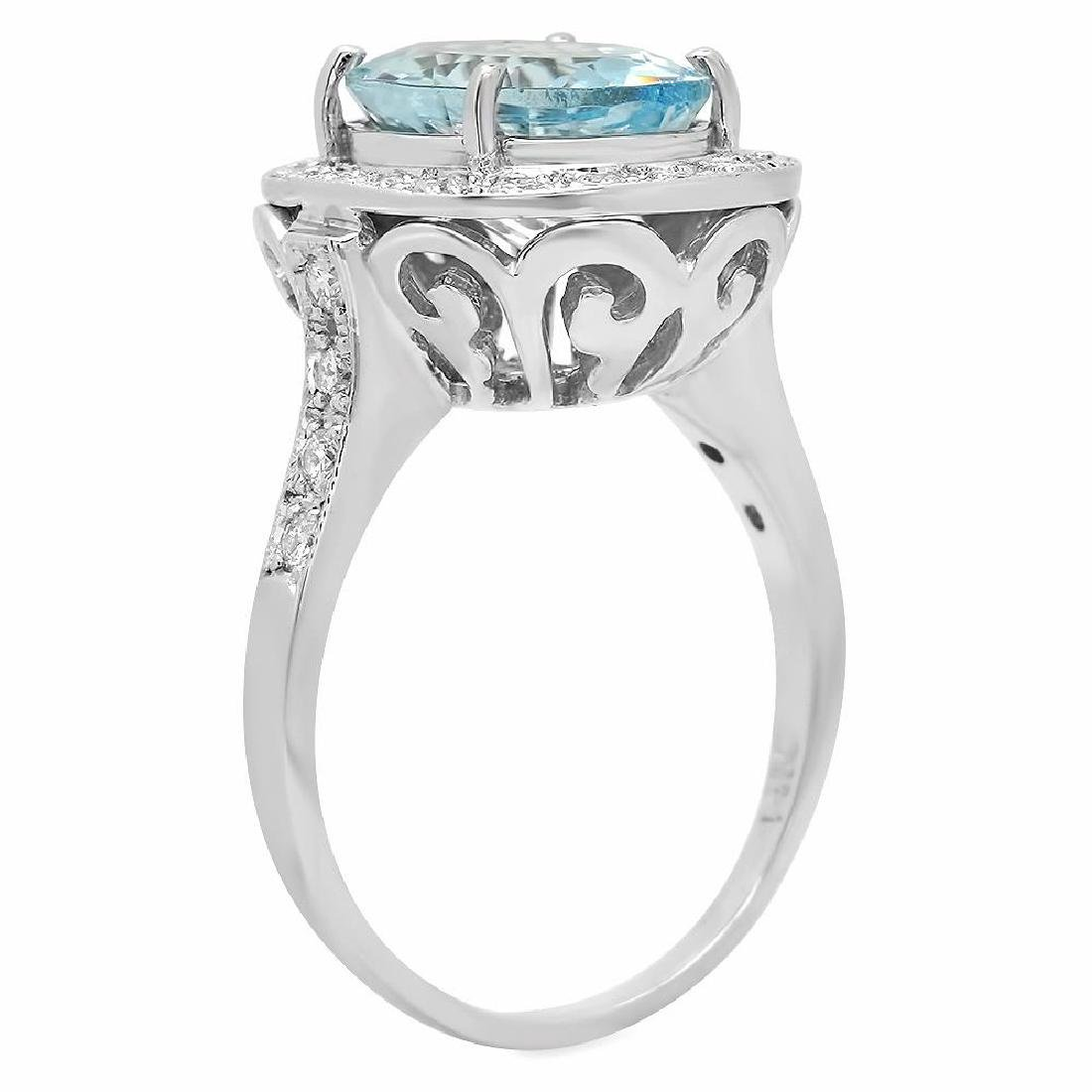 14K Gold 3.99ct Aquamarine 0.55ct Diamond Ring - 2
