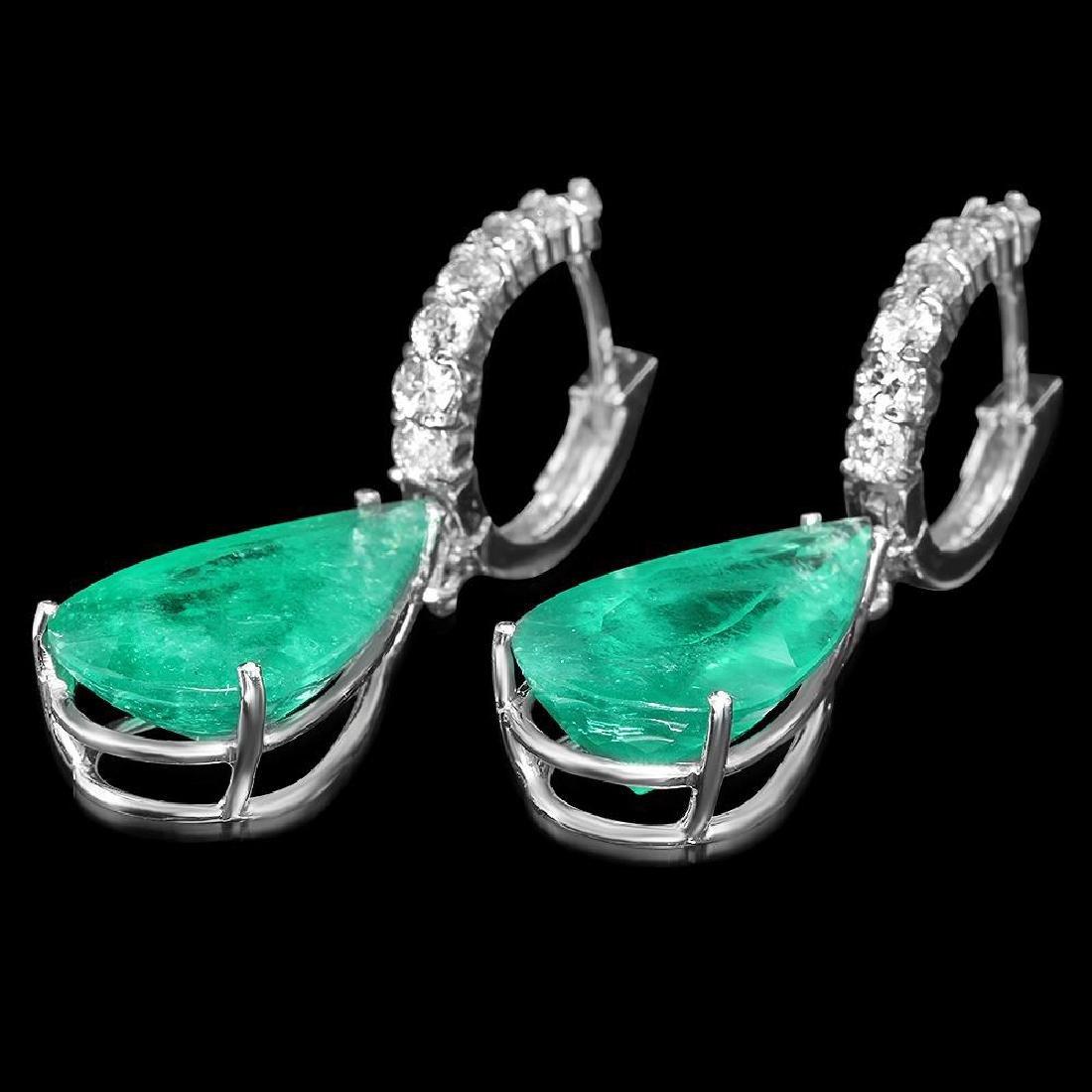 14K Gold 19.70ct Emerald 1.30ct Diamond Earrings - 2