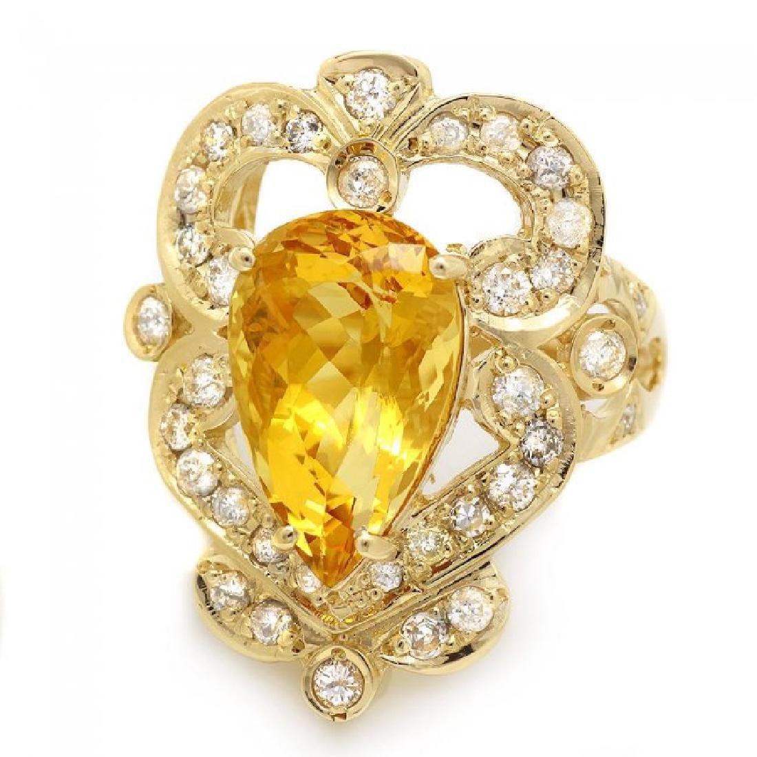 14k Yellow Gold 5.50ct Beryl 1.15ct Diamond Ring - 2