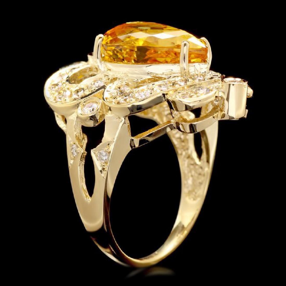 14k Yellow Gold 5.50ct Beryl 1.15ct Diamond Ring - 3