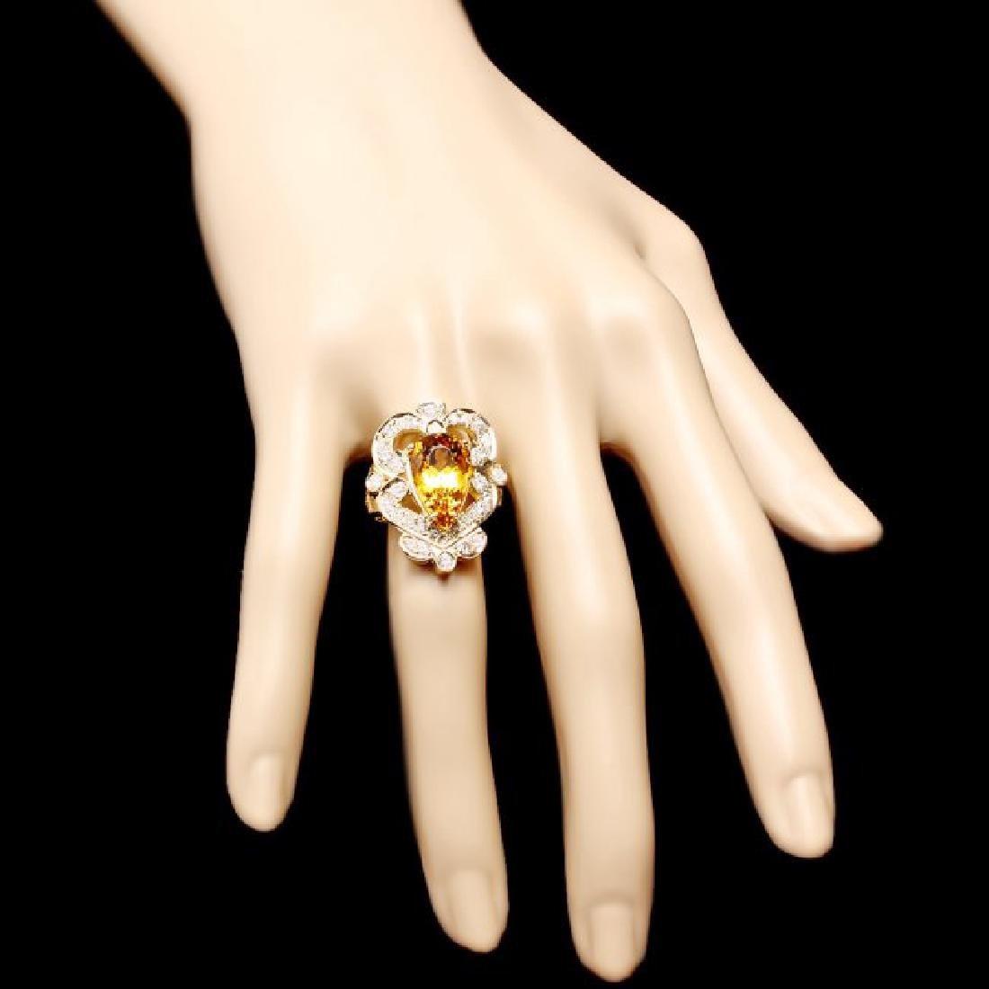 14k Yellow Gold 5.50ct Beryl 1.15ct Diamond Ring - 4
