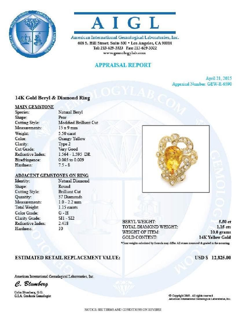 14k Yellow Gold 5.50ct Beryl 1.15ct Diamond Ring - 5