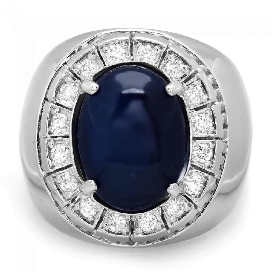 14k 15.50ct Sapphire 0.50ct Diamond Mens Ring - 2