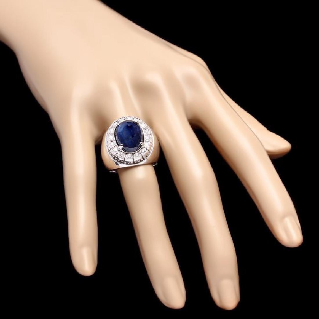 14k 15.50ct Sapphire 0.50ct Diamond Mens Ring - 4