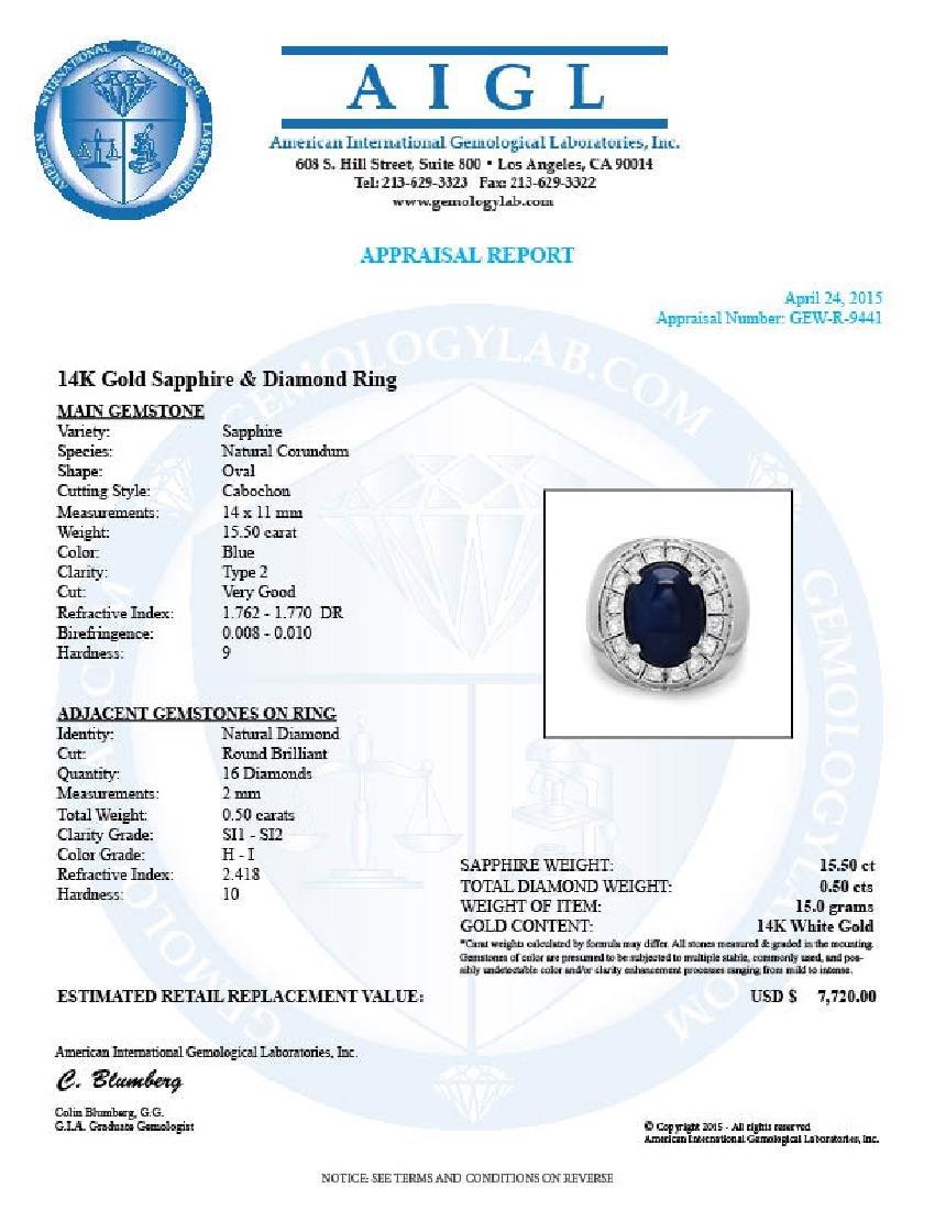 14k 15.50ct Sapphire 0.50ct Diamond Mens Ring - 5
