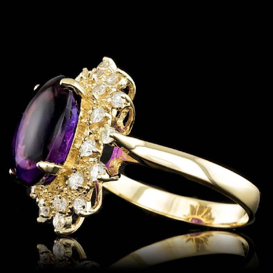 14k Gold 5.00ct Amethyst 0.70ct Diamond Ring - 2