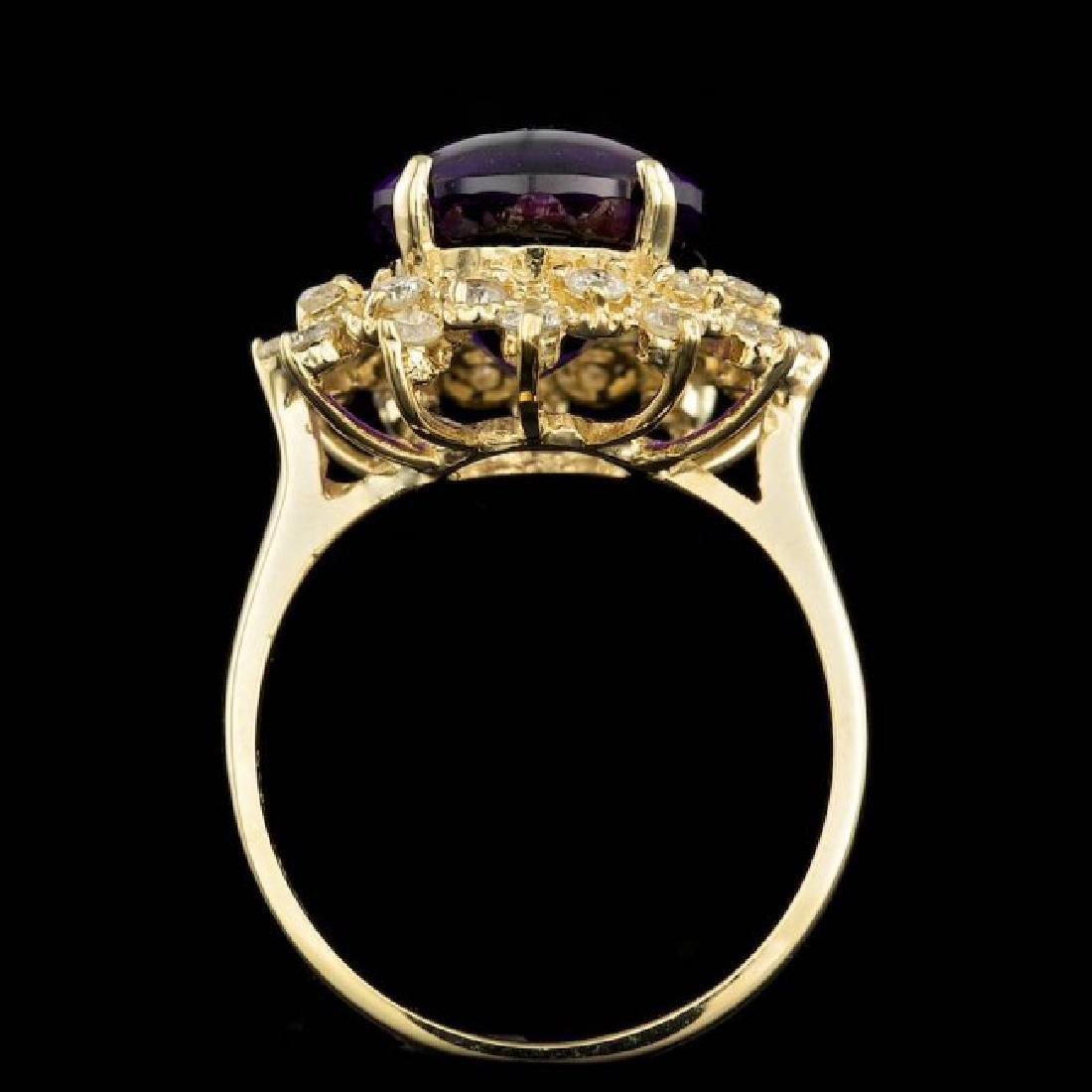 14k Gold 5.00ct Amethyst 0.70ct Diamond Ring - 3