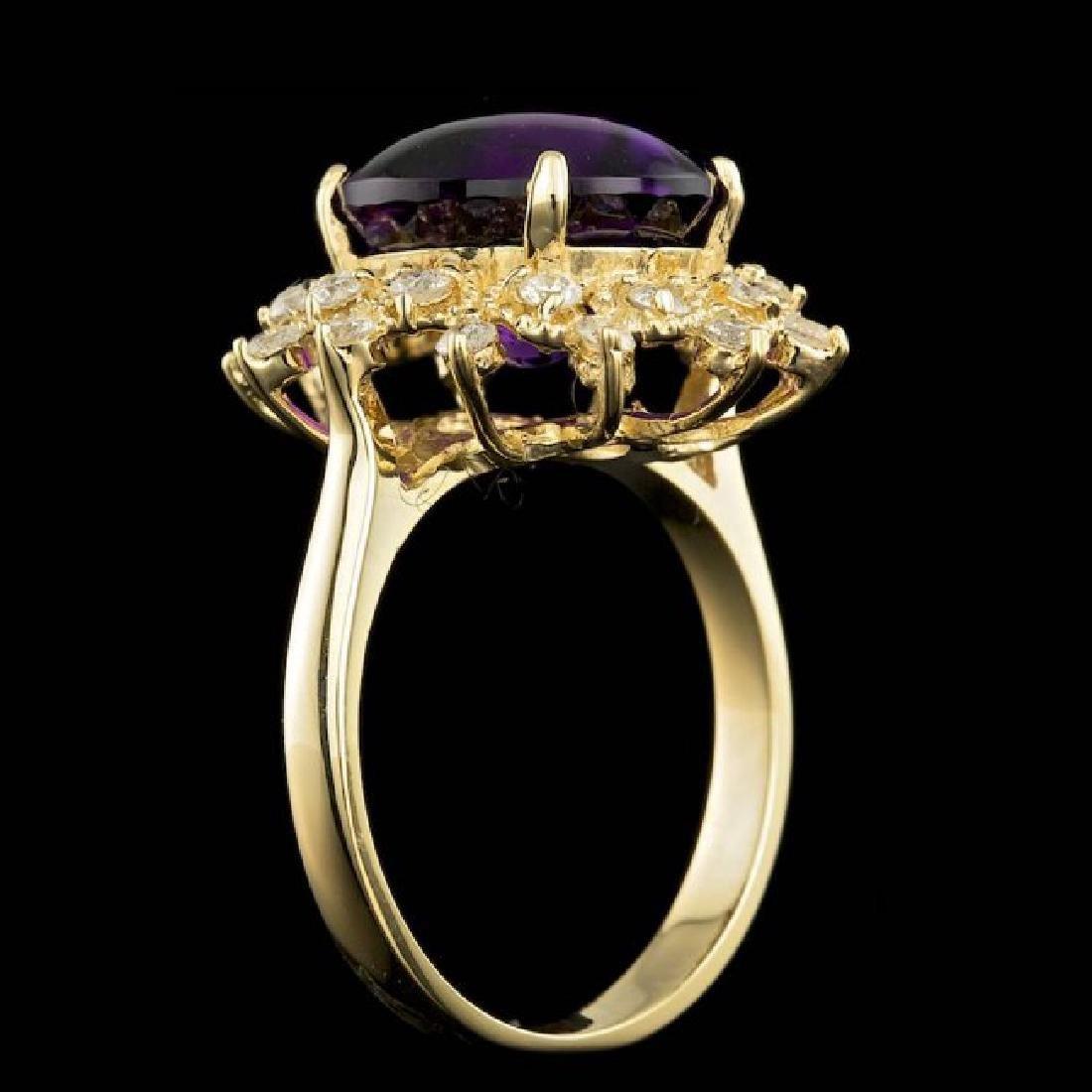 14k Gold 5.00ct Amethyst 0.70ct Diamond Ring - 5