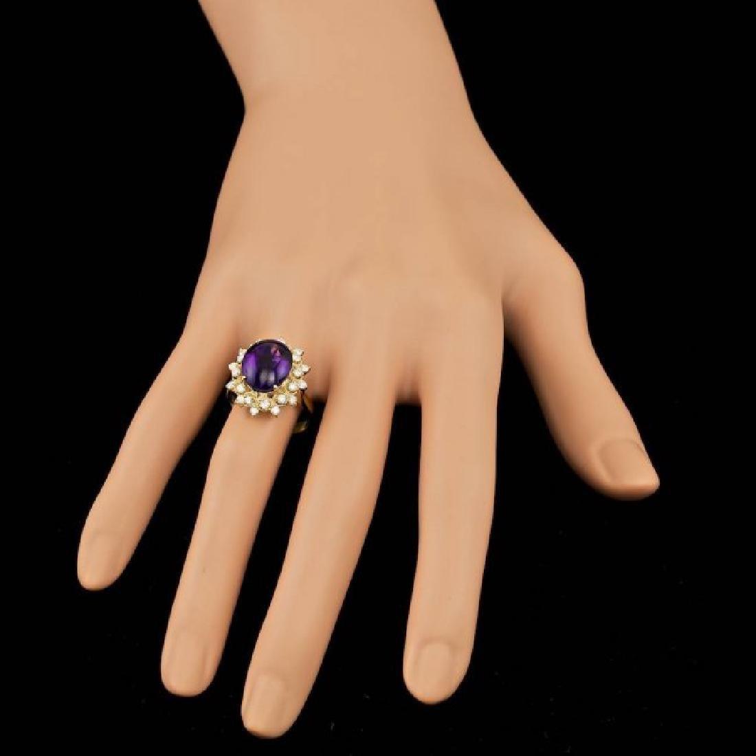 14k Gold 5.00ct Amethyst 0.70ct Diamond Ring - 6