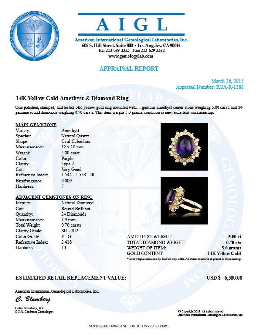 14k Gold 5.00ct Amethyst 0.70ct Diamond Ring - 8