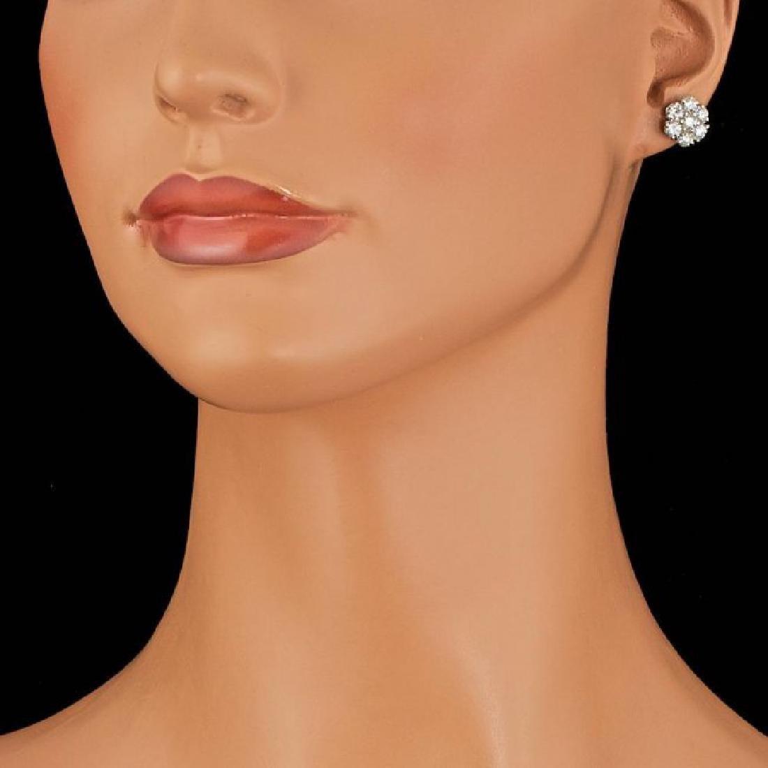 14k White Gold 2.75ct Diamond Earrings - 3