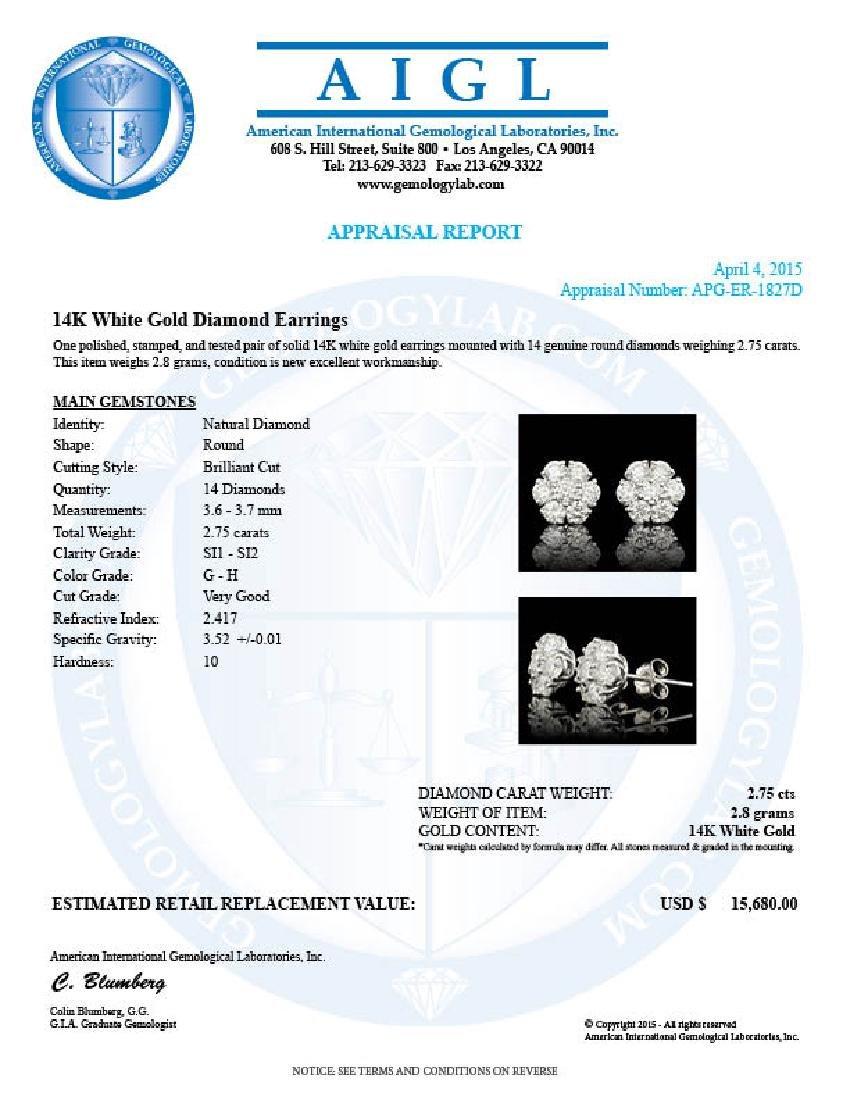 14k White Gold 2.75ct Diamond Earrings - 5