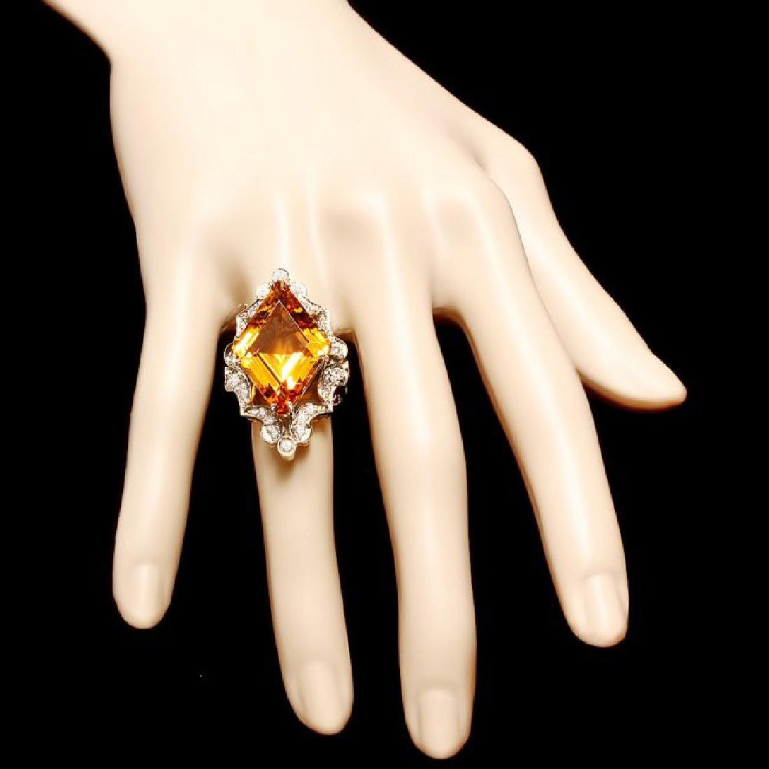 14k Gold 16.00ct Citrine 1.00ct Diamond Ring - 4