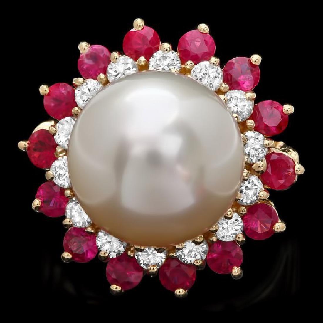 14k Gold 13 X 13mm Pearl 0.80ct Diamond Ring