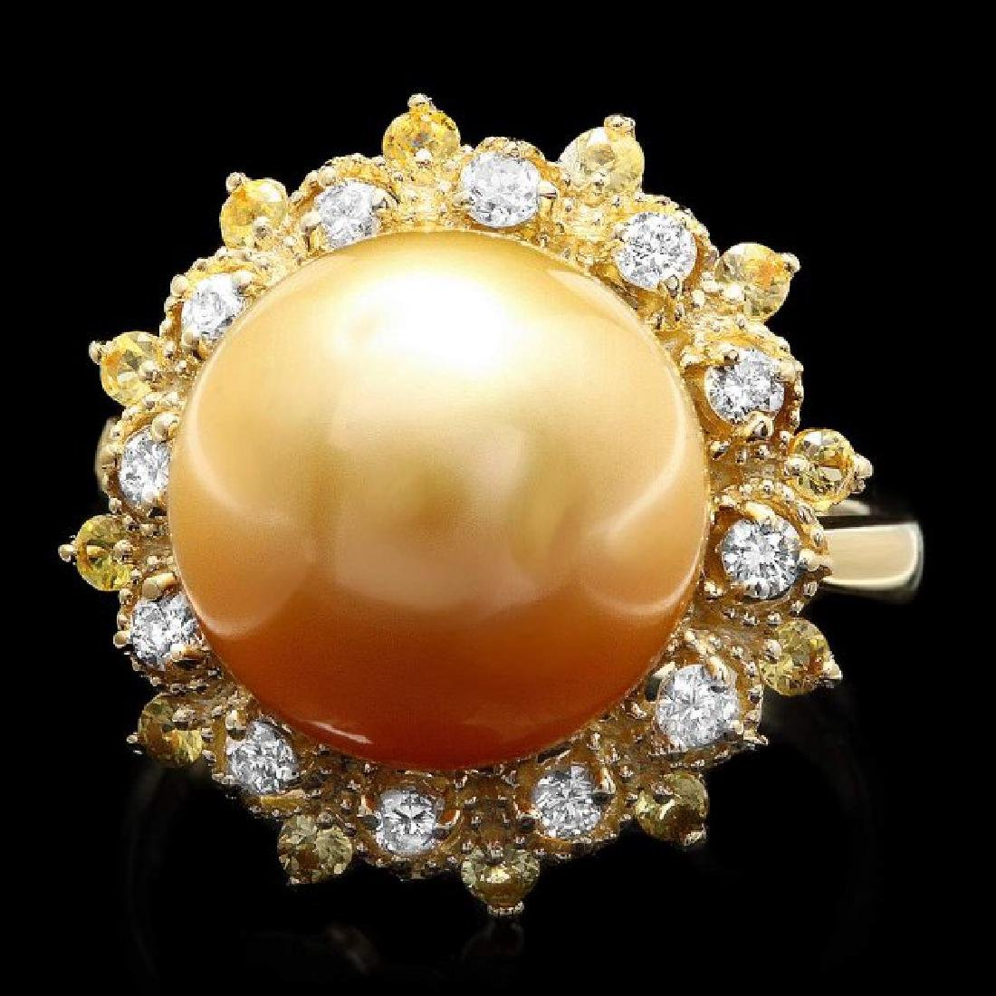 14k Yellow Gold 12mm Pearl 0.40ct Diamond Ring
