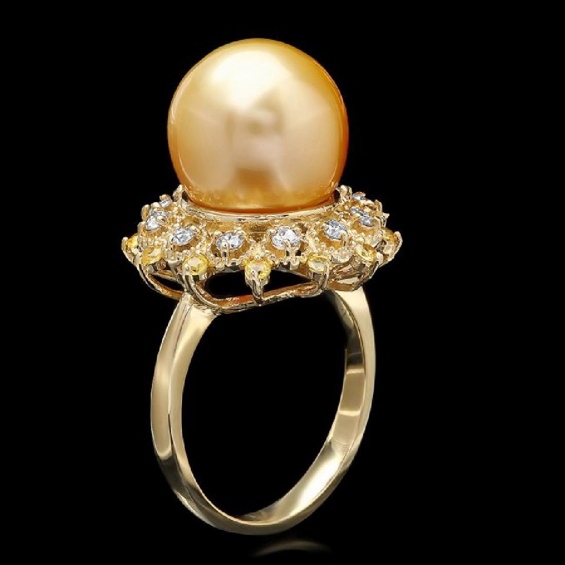 14k Yellow Gold 12mm Pearl 0.40ct Diamond Ring - 2